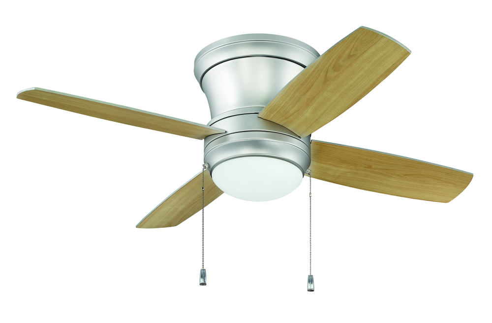 "Laval 44"" Hugger Ceiling Fan with Blades and Light in Brushed Pewter"