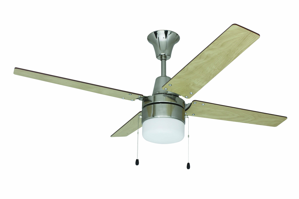 "Wakefield 48"" Ceiling Fan with Blades and Light in Brushed Chrome"