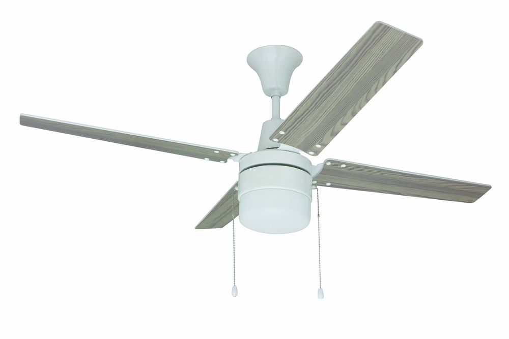 "Wakefield 48"" Ceiling Fan with Blades and Light in White"