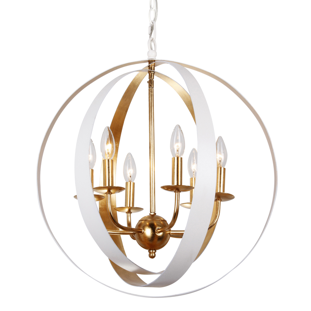 King electric 6 light matte white antique gold industrial chandelier arubaitofo Images