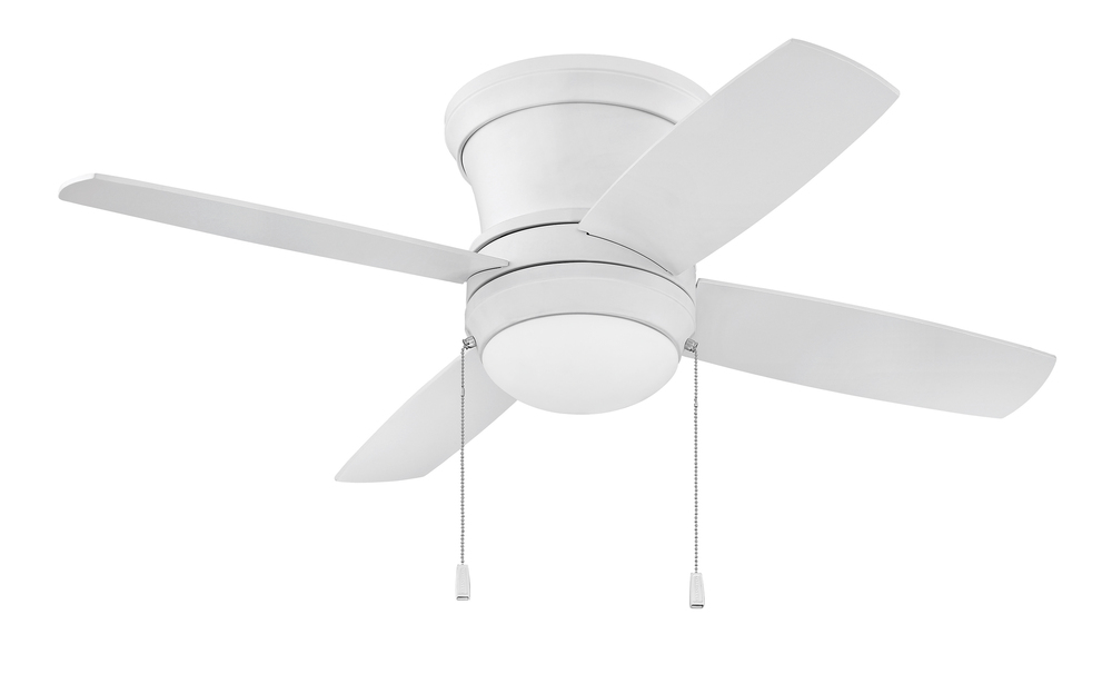 "Laval 44"" Hugger Ceiling Fan with Blades and Light in Matte White"